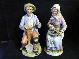 "Vtg Homco "" 1433 Old Man with Spade & Old Woman with Basket"" Resting  Fi... - $23.36"