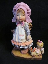 """Vintage """"Girl with Pink Bonnet & Doll in Carriage"""" Ceramic Figurine - $18.68"""
