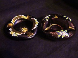 "Vintage Purple Amethyst ""Hand Painted Gold Embossed, Floral Design"" Asht... - $32.71"