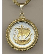 """Cyprus 5 Mils """"Viking Ship"""" Gold on Silver coin  jewelry pendant necklace - $127.00"""