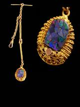 Antique Fob watch chain / opal fob - gold Victorian vest chain - suit ac... - $295.00