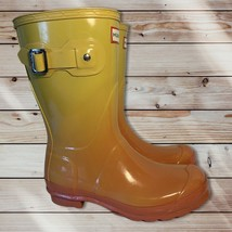 Women's HUNTER Rubber Rain Boots Original Yellow Orange Fade Sz US 7 UK 5 Org - $60.78
