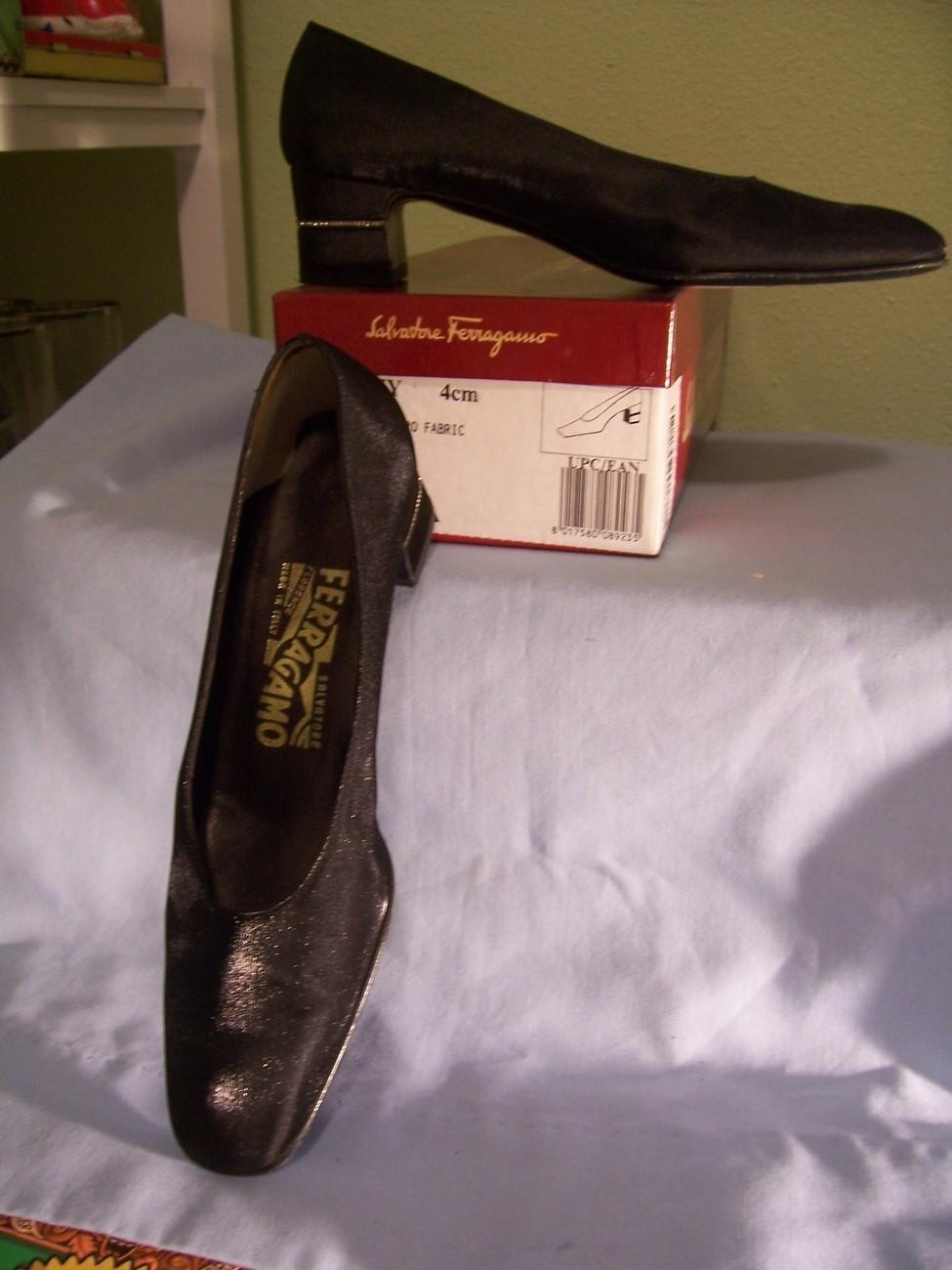 Ferragamo Women's Black File Pump w/Rhinestones On Heels - 6 Bonanza