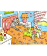 ACEO art print Cat #371 mouse fantasy by Lucie ... - $4.99