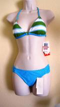 Nwt Hula Honey 2PC Halter Bikini Swimsuit XS X-Small Stripe Aqua Green P... - $19.75