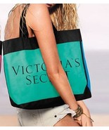 NEW Victoria's Secret Canvas Colorblock Teal/Blue Tote. Lined inside - $25.00