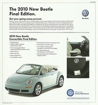 2010 Volkswagen NEW BEETLE FINAL Edition sales brochure sheet US 10 VW - $9.00