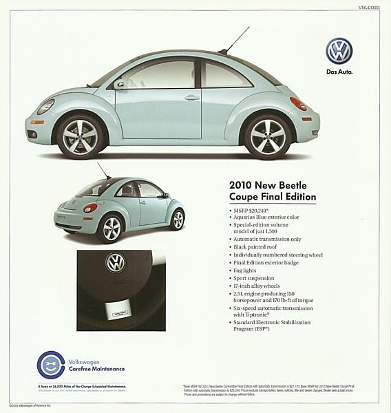 2010 Volkswagen NEW BEETLE FINAL Edition sales brochure sheet US 10 VW