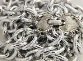 80's 90s VINTAGE Jewelry SILVER METAL DOUBLE CHAIN LINK TEXTURED NECKLAC... - $15.00