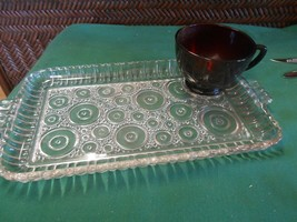 Great Anchor Glass Snack Set Of 10 Ruby Red Cups And Glass Trays & 2 Free Trays - $32.26