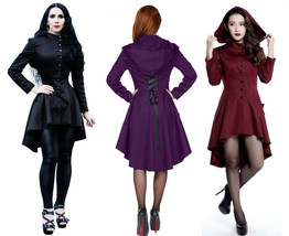 Victorian Goth Corset Jacket Hooded Spring Fall PinUp Coat Black Purple ... - $75.29