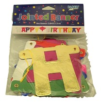 Jointed Banner Happy Birthday Banner 5 feet long multicolor - $3.79