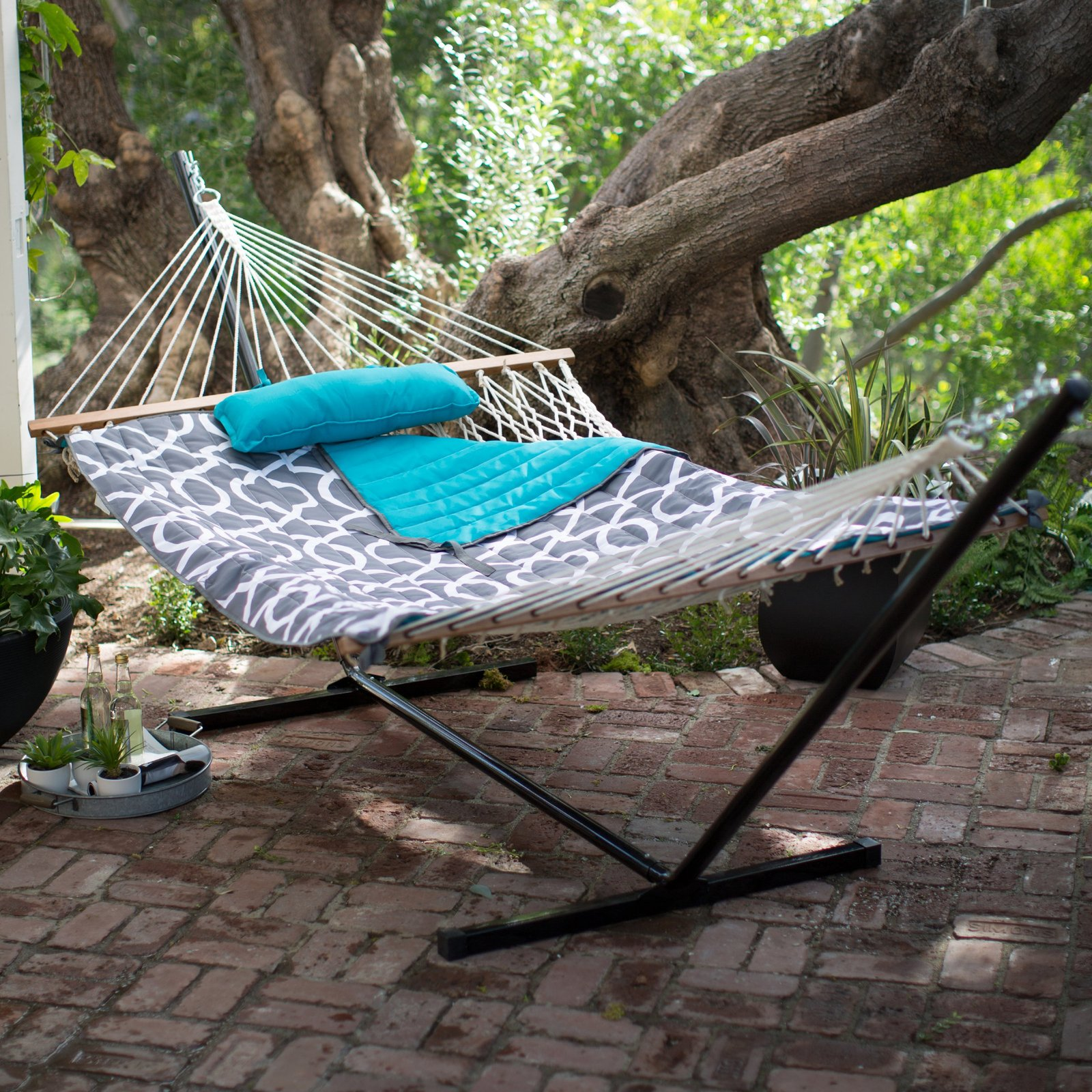 Double Hammock With Stand Outdoor Patio Camping Cotton