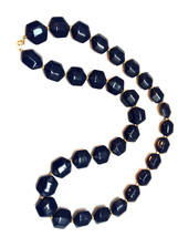 Navy Blue Deco Lucite Plastic Beaded Long Necklace Golden Spacers Beads ... - $30.00