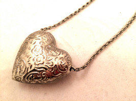 Heart Floral Dimensional Silver Hollow Pendant Whimsical Silver Chain Ne... - $25.00