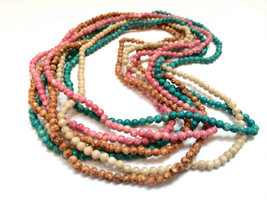 Set of 4 Glass Beaded Long Necklaces Pink Green Brown White Beads Long N... - $35.00