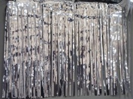 "Metallic Silver Fringed Valance Party decoration garland 10 ft long x 15"" - $6.99"