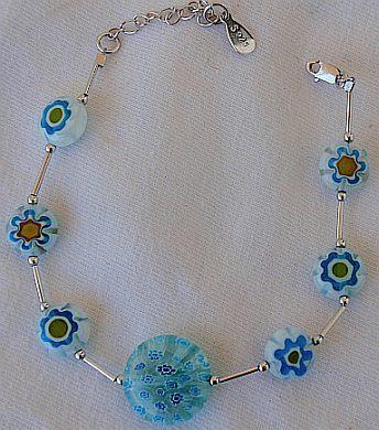 Light blue mornao flowers bracelet 3