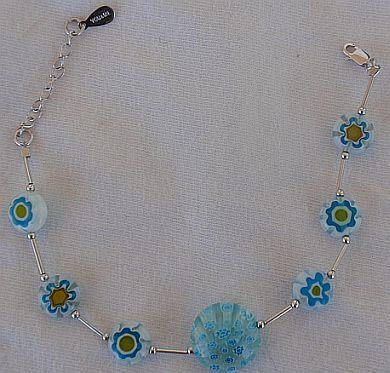 Light blue morano flowers bracelet