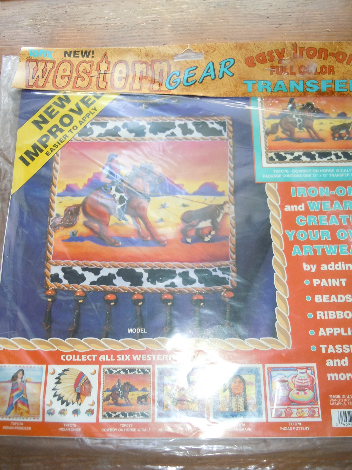Topix Western Gear Cowboy on Horse With Calf Iron On Transfer New in Package - $4.99