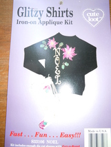 Cute Loot Glitzy shirts Iron On Christmas Applique Kit Noel New in Packa... - $2.99