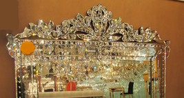 New Stunning Large Ornate Bevel Etch Venetian Engrave Buffet Wall Mirror - $449.00