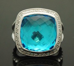 David Yurman Albion 14x14mm Blue Topaz and Diamonds Ring Size 8 - $692.99