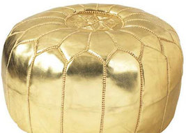 Set of 2 x  Hand stitched & embroidered Leather Ottomans Poofs / GOLD