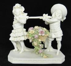 Vtg Girl & Boy Figurine Carrying Large Basket of Flowers Applied Blue Ma... - $49.49