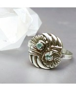 Green beryl ring, fine silver ring, 999 silver ring, size 9 ring, aquama... - $75.00