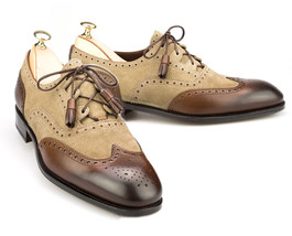 Handmade Men's Wing Tip Brogues Brown Suede and Leather lace Up Dress Oxford Sho image 3