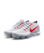 "Nike Air Vapormax Flyknit ""OG"" PURE PLATINUM/UNIVERSITY RED-WOLF GREY - $249.00"