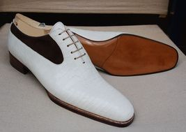 Handmade Men's White Crocodile Texture and Black Suede Dress Oxford Leather Shoe image 3
