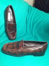Liz Claiborne 7.5M Women's Leather Croc Embossed Brown Slip On Loafers Shoes - $24.74
