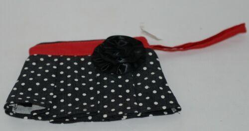 GANZ Brand ER16753 Black White Polka Dot Skirt Coin Purse Fabric Flower