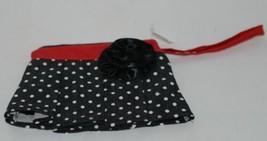 GANZ Brand ER16753 Black White Polka Dot Skirt Coin Purse Fabric Flower image 1