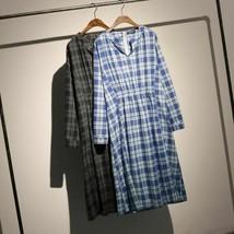 New Blue Plaid Long Sleeve Round Collar Korean Fashion Loose Summer Women Dress  - $44.99