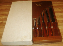 Vintage Robinson Stainless Steel Cutlery Set With Hanging Block/Unused I... - $45.00