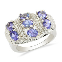Cocktail Designer Tanzanite Gemstone 925 Sterling Silver Ring Sz 7.5 SHR... - $50.15
