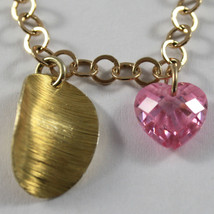 .925 RHODIUM SILVER  YELLOW GOLD PLATED BRACELET WITH CRISTAL PINK HEARTS image 2