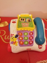 Fisher Price Telephone With Phone Book Pull Toy Animal Sounds 2003 Rare  - $18.99