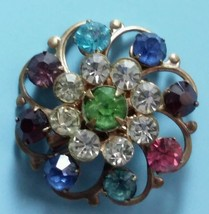 Vtg Birthstone Gemstone Circle Brooch Mother's Pin - $9.85