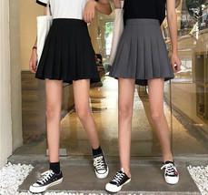 Women Girls Campus Style Pleated Mini Skirt School Skirt, Black White, Plus Size image 1