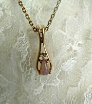 """Vintage Avon Necklace Fire Glow Opal Teardrop 1977 #503 Gold Tone 11"""" Chain  - $49.38"""