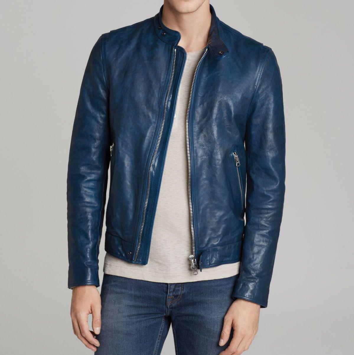 New Men's Stylish Lambskin Genuine Leather Motorcycle Biker Slim Fit Jacket GN11