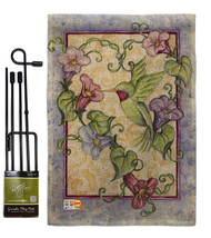 Hummingbird with Trumpet Flowers Burlap - Impressions Decorative Metal Garden Po - $33.97