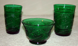 Tiara Archor Hocking, Emerald Green Glassware Custard Bowl, Juice Glass,... - $28.22