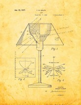 Lamp Patent Print - Golden Look - $7.95+