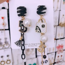New Luxury Brand Hat Letter Bag Bow Stud Earrings Fashion Fringed Paris 5 Pearl  - $17.28