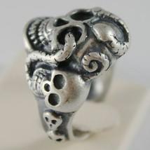 Ring aus Silber 925 Brüniert Geformt Schädel mit Schlange Abmessung Einstellbar image 2